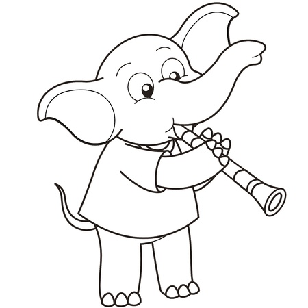 Cartoon Elephant playing a clarinet black and white Vector