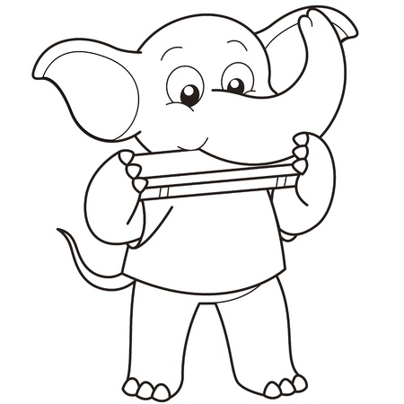 Cartoon Elephant playing a harmonica black and white Vector