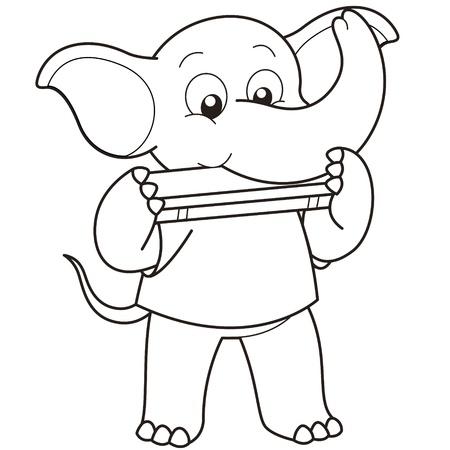 harmonica: Cartoon Elephant playing a harmonica black and white