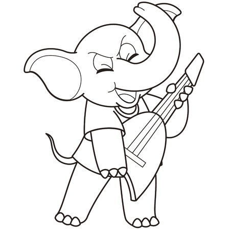 Cartoon Elephant playing a guitar black and white Vector