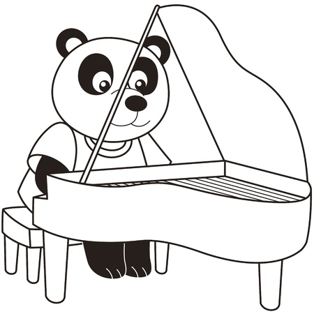 Cartoon Panda playing a piano black and white Vector