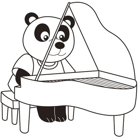 pianist: Cartoon Panda playing a piano black and white Illustration