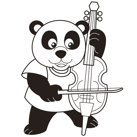 Cartoon Panda Playing a Cello black and white Vector