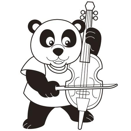 violoncello: Cartoon Panda Playing a Cello black and white