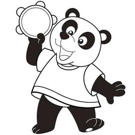 tambourine: Cartoon Panda playing a tambourine black and white Illustration