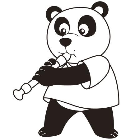 oboe: Cartoon Panda playing an oboe black and white