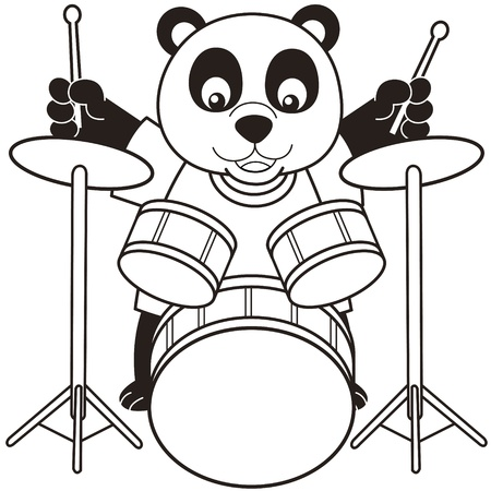 percussionist: Cartoon Panda Playing Drums black and white Illustration