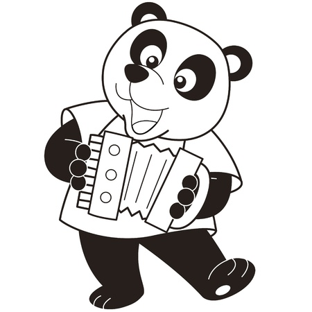 Cartoon Panda playing an accordion black and white Vector