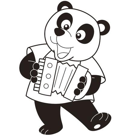 accordion: Cartoon Panda playing an accordion black and white