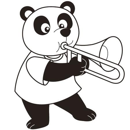 trombone: Cartoon Panda playing a trombone black and white Illustration