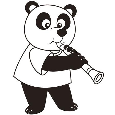 clarinet: Cartoon Panda playing a clarinet black and white Illustration