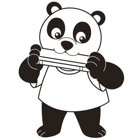 baby cartoon: Cartoon Panda playing a harmonica black and white