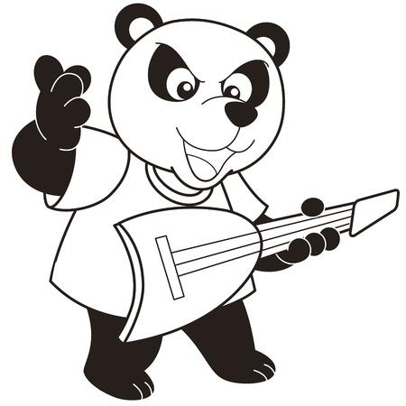 baby: Cartoon Panda playing a guitar black and white Illustration