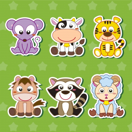 stickers: six cute cartoon animal stickers