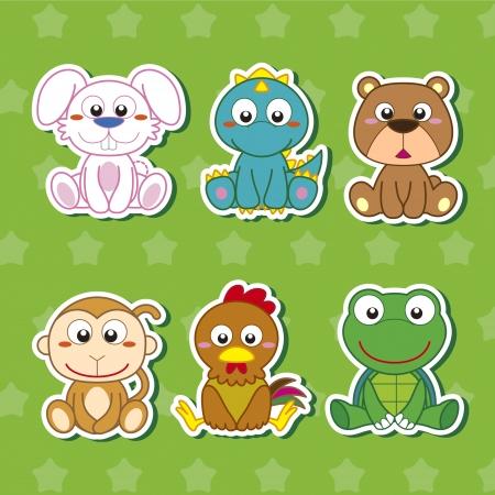 draw animal: six cute cartoon animal stickers