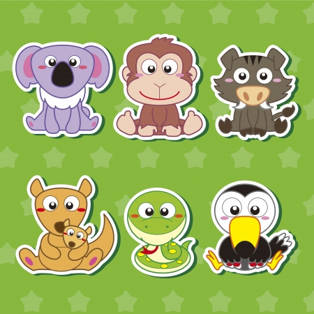 six cute cartoon animal stickers Vector