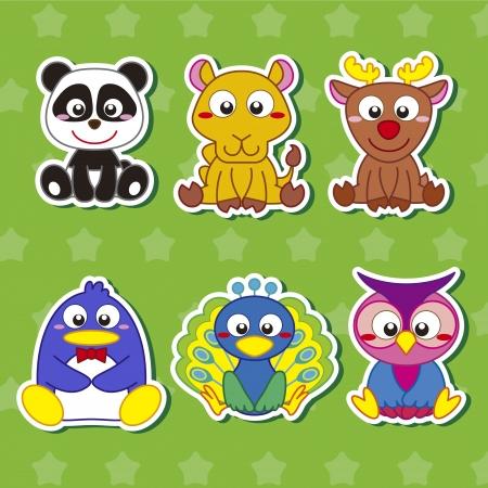 baby deer: six cute cartoon animal stickers