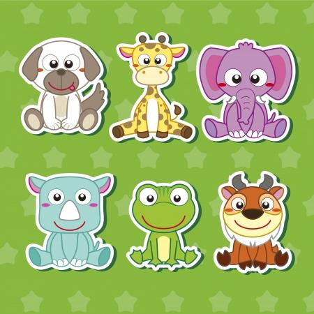 jirafa caricatura: seis lindos dibujos animados pegatinas de animales