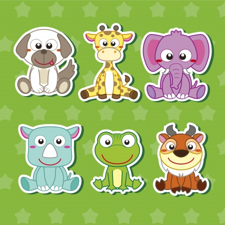 antelope: six cute cartoon animal stickers