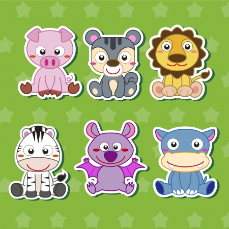 pig tails: six cute cartoon animal stickers