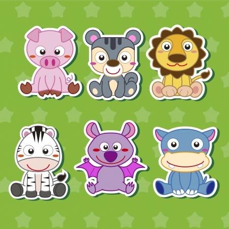 pig tails: six cute cartoon animal stickers