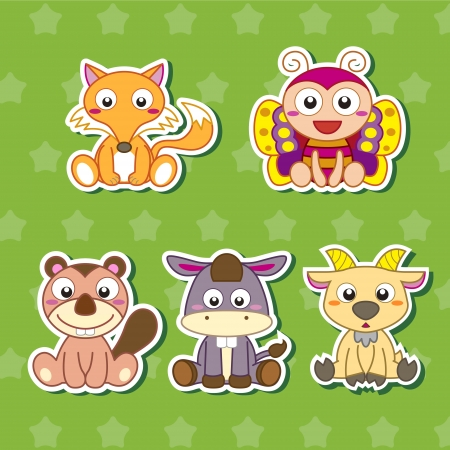 five cute cartoon animal stickers Vector