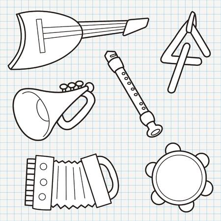 pandero: vector doodle de instrumentos musicales colección Vectores