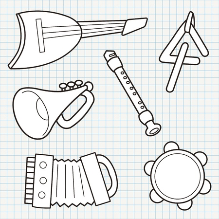 tambourine: vector doodle musical instruments collection
