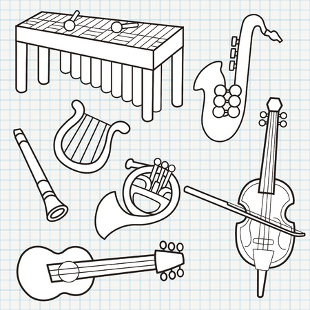 vector doodle musical instruments collection Vector