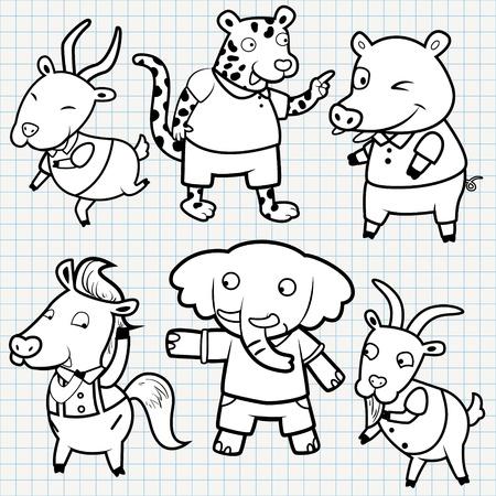 vector doodle cute animal collection Vector