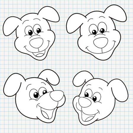 chalk outline: vector doodle cute dog face collection