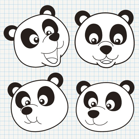 chalk outline: vector doodle cute panda face collection