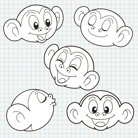 vector doodle cute monkey face collection Vector