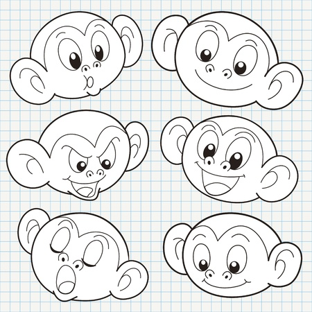 chalk outline: vector doodle cute monkey face collection