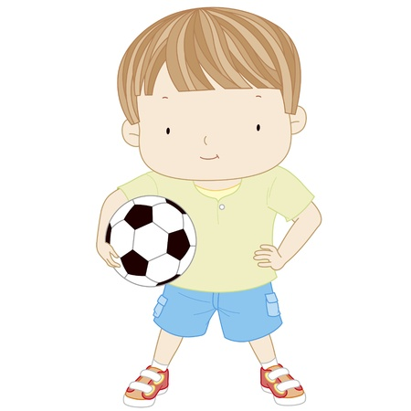 child ball: illustration of a cute boy is holding a football ball isolated on a white background  Soccer ball Illustration