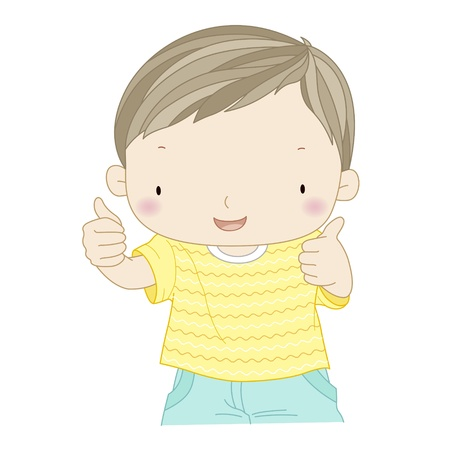 illustration of a confident boy showing thumbs up isolated one white