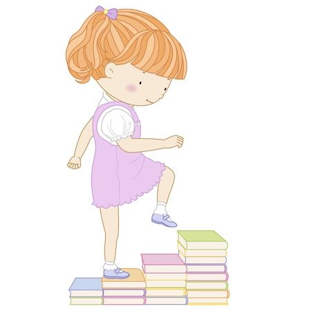 schoolchild: illustration of a cute girl going up the stairs of books