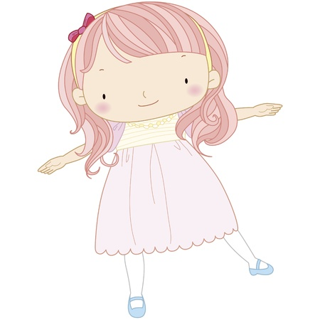 clip art feet: illustration of a cute girl playing