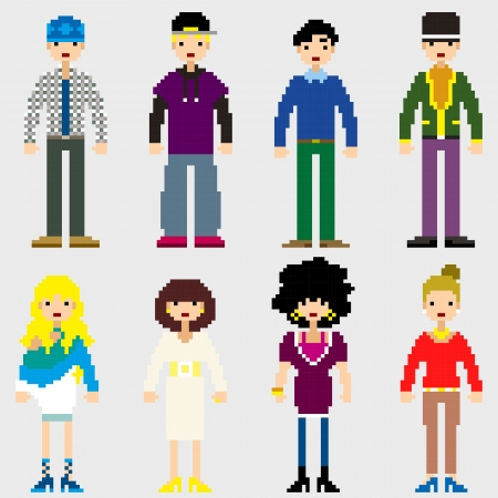 Fashion Pixel People icons Stock Vector - 19690125