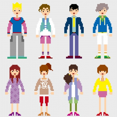 Fashion Pixel People icons Stock Vector - 19690119