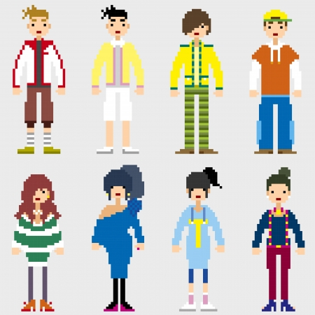 Fashion Pixel People icons  Vector