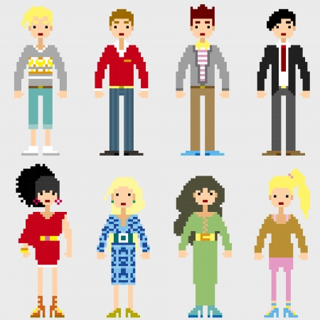 Fashion Pixel People icons Stock Vector - 19690131