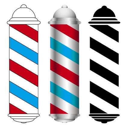 barber shop: three barber shop pole icons