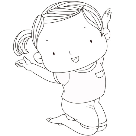 illustration of a cute girl jumps, black   white line  Vector