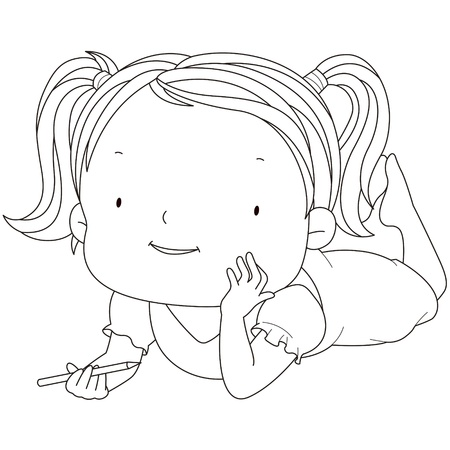 dreamy: illustration of a cute child girl with a pencil