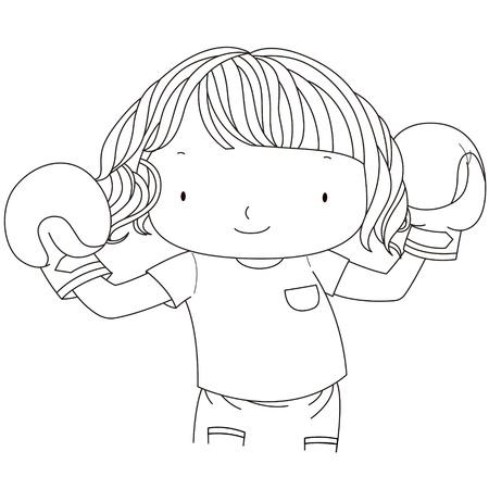 빨간 권투 글러브 블랙, 화이트 라인에게 귀여운 소녀의 그림