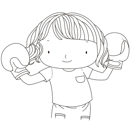 young schoolchild: illustration of a cute girl with red boxing gloves black   white line