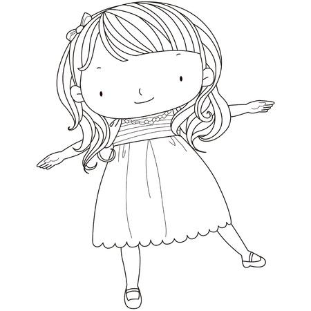 pies bailando: ilustraci�n de una chica linda que juega l�nea blanca negro
