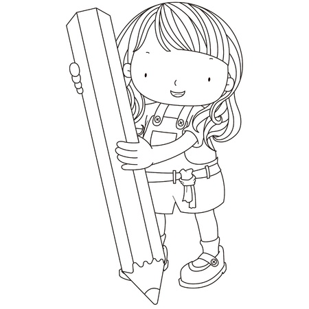 coloring illustration of a girl with pencil. Vector