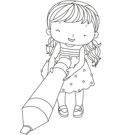 coloring illustration of a girl with marker pen. Vector